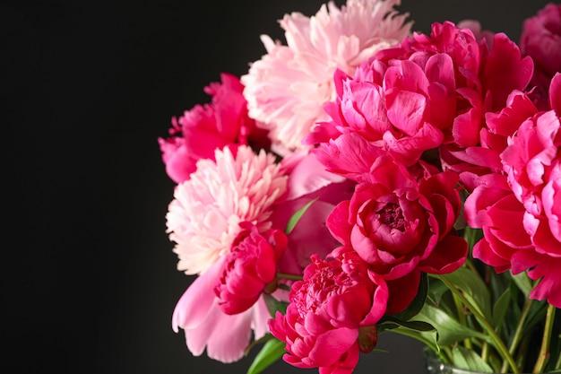 Bouquet de lindas peônias rosa contra o fundo escuro