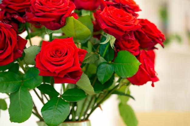 Bouquet de lindas rosas vermelhas em um vaso verde sobre fundo colorido em casa aconchegante, conceito de dia dos namorados