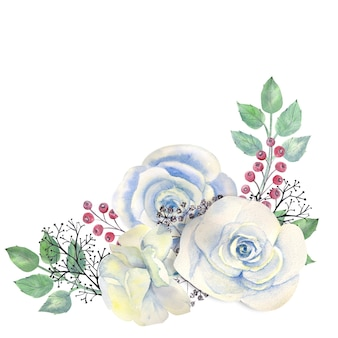Bouquet de rosas cor de rosa, folhas verdes, bagas vermelhas, ramos decorativos