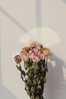 Bouquet de rosas secas com sombra de janela na parede