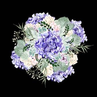 Bouquet em aquarela com flores de hortênsia, rosas, plantas suculentas, frutos e folhas. ilustração