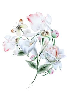Bouquet em aquarela com flores e folhas. ilustração. desenhado à mão.