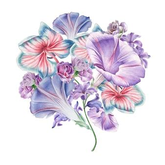 Bouquet em aquarela com flores. orquídea. petúnia. ilustração. desenhado à mão.