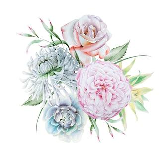 Bouquet em aquarela com flores. rosa. crisântemo. peônia. ilustração em aquarela. desenhado à mão.