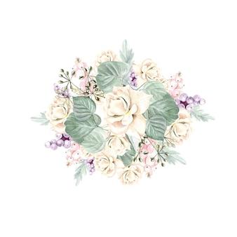 Bouquet em aquarela com flores, rosas, plantas, frutos e folhas. ilustração