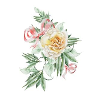 Bouquet em aquarela com rosa e folhas. ilustração. desenhado à mão.