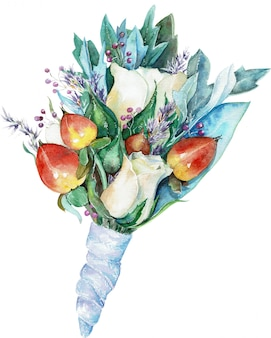 Boutonniere aquarela para o noivo de rosas brancas e bagas vermelhas com folhas azuis e fita.