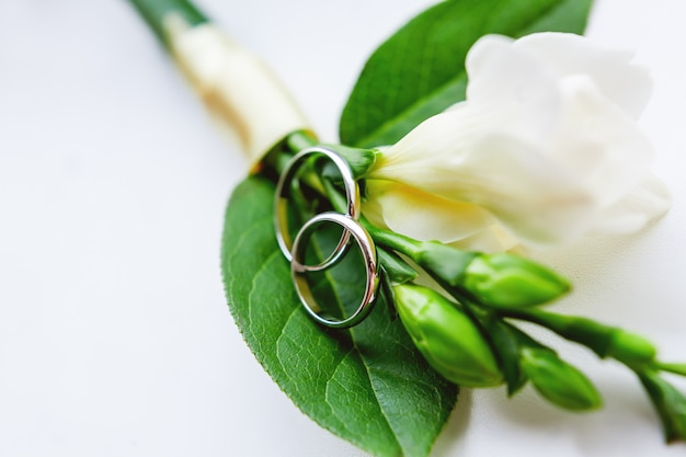 Boutonniere com par de alianças de casamento douradas encontram-se em uma superfície branca lisa.