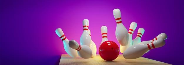 Bowling strike - bola batendo pinos no beco