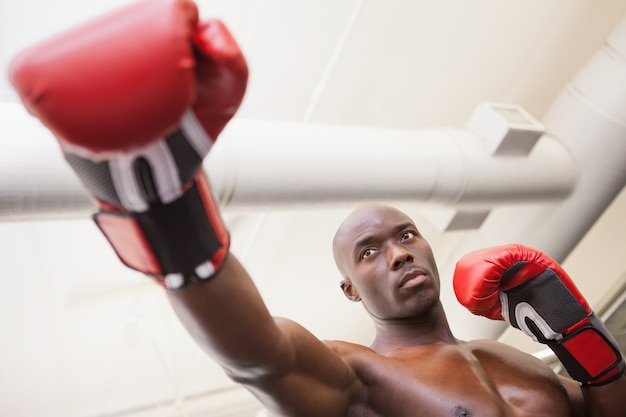 Boxeador masculino atacando com seu direito no clube de saúde