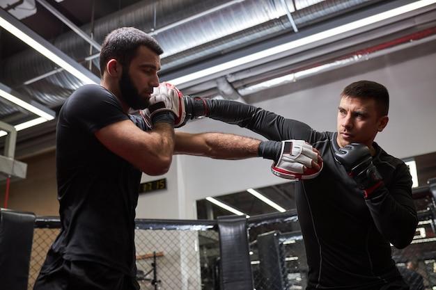 Boxeadores de dois homens atléticos exercitando o kick boxing no ringue do health club ou ginásio, prática de luta, mma, em ação. esporte, fintess, conceito de kickboxing