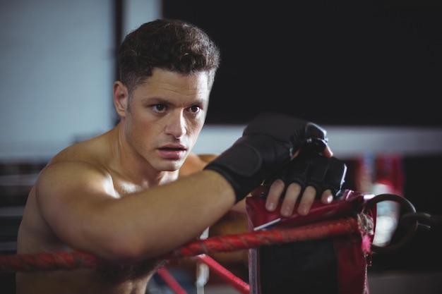 Boxer, apoiando-se no ringue de boxe
