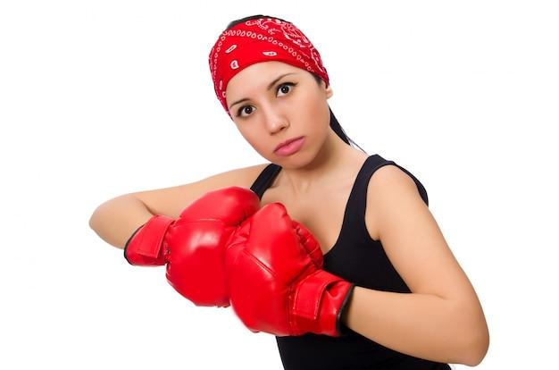 Boxer de mulher isolado no branco