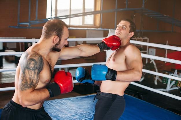 Boxer envia seu oponente para o nocaute.