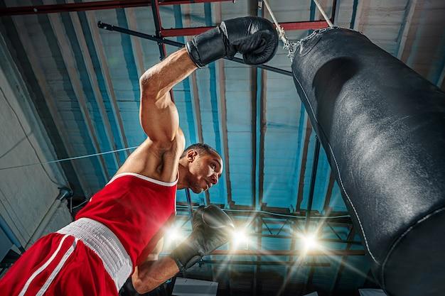 Boxer masculino praticando