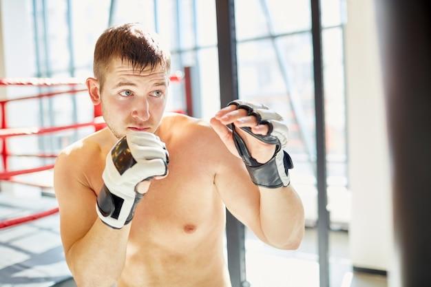 Boxer praticando no clube de luta contra a luz solar