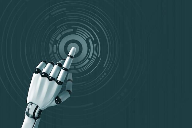 Braço do robô empurrando em um círculo digital virtual brilhante
