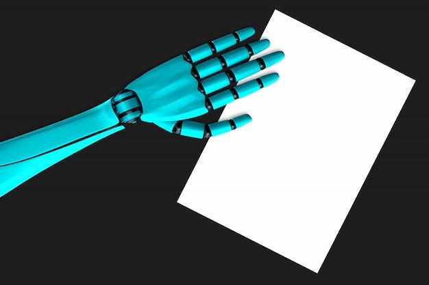 Braço robô humanóide, deitada em cima de uma folha de papel branca em cima da mesa