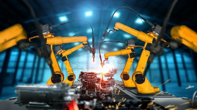 Braço robô mecanizado industrial para montagem na linha de produção da fábrica