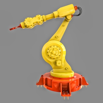 Braço robótico amarelo para qualquer trabalho em uma fábrica ou produção. equipamento mecatrônico para tarefas complexas