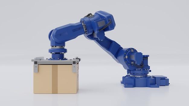 Braço robótico com caixa de papelão isolado