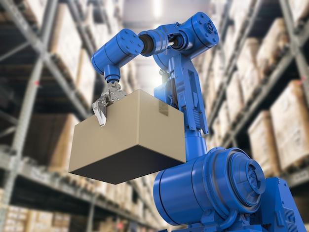 Braço robótico de renderização 3d carrega caixa de papelão no depósito