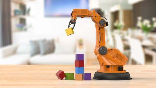 Braço robótico de renderização 3d organiza blocos de brinquedo em casa