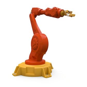 Braço robótico laranja para qualquer trabalho em uma fábrica ou produção. equipamento mecatrônico para tarefas complexas. ilustração 3d.