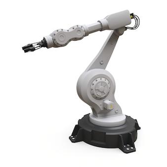 Braço robótico para qualquer trabalho em uma fábrica ou produção. equipamento mecatrônico para tarefas complexas. ilustração 3d