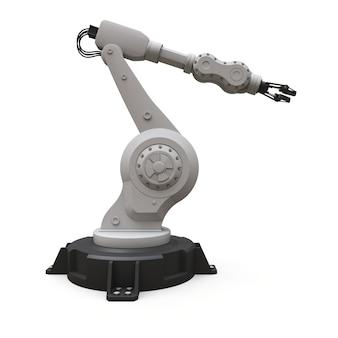 Braço robótico para qualquer trabalho em uma fábrica ou produção. equipamento mecatrônico para tarefas complexas. renderização em 3d.