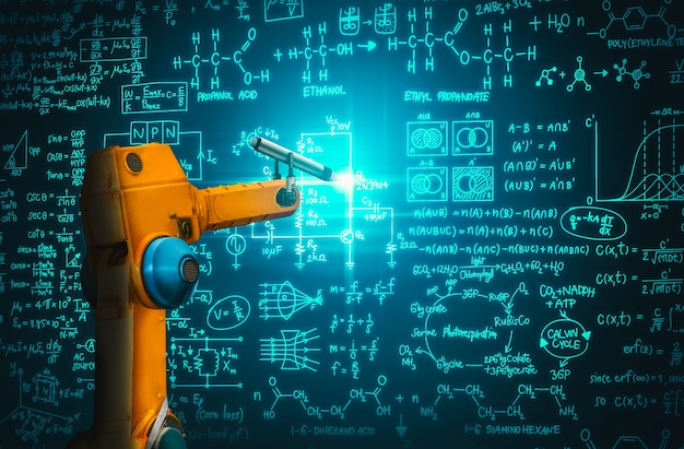 Braço robótico que analisa matemática para solução de problemas da indústria mecanizada