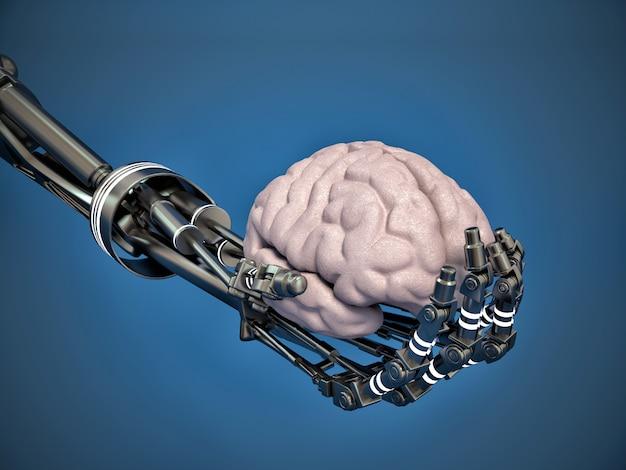 Braço robótico segurando um cérebro humano