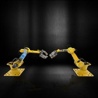 Braços do robô 3d em uma superfície metálica do grunge