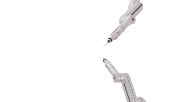 Braços robóticos brancos com espaço em branco sobre fundo branco, renderização em 3d.