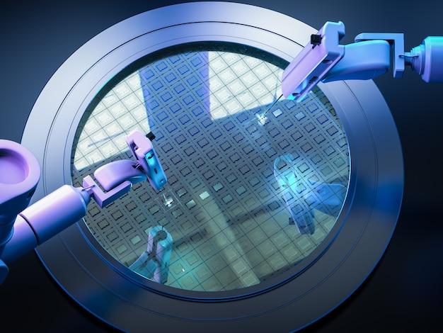 Braços robóticos com pastilhas de silício para semicondutores