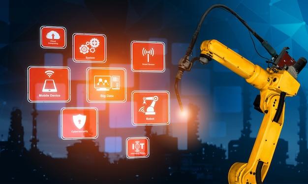 Braços robóticos inteligentes da indústria para tecnologia de produção de fábrica digital Foto Premium