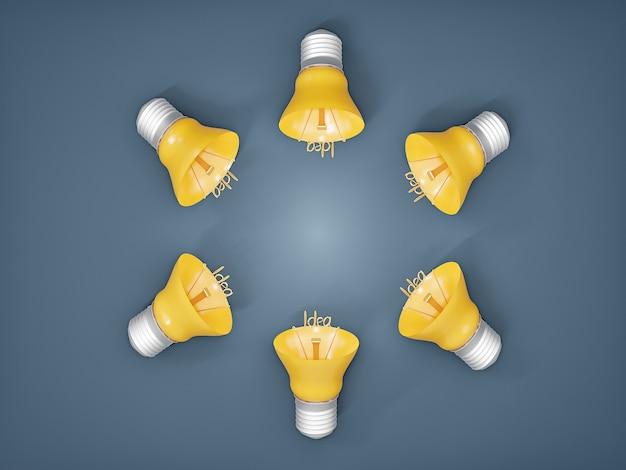 Brainstorming de ideia com várias lâmpadas