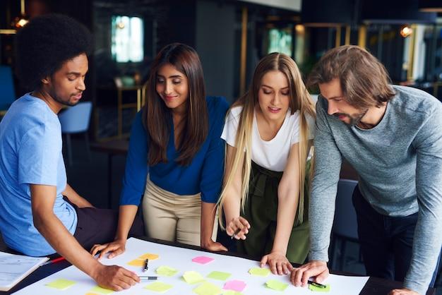 Brainstorming de jovens colegas de trabalho