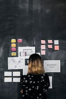 Brainstorming do líder usando um quadro-negro