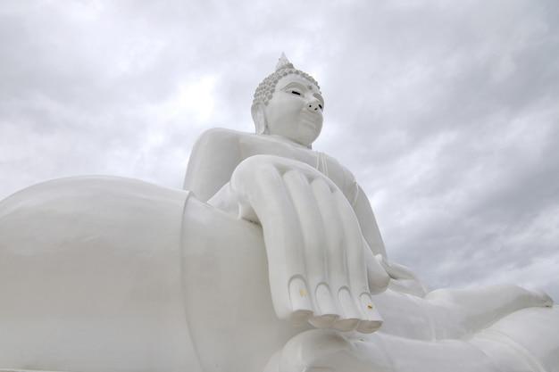 Branca, buddha, estátua
