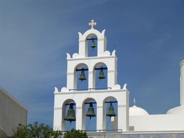 Branca, campanário, igreja, azul, céu, santorini, ilha, grécia