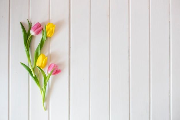 Branca superfície de madeira com tulipas bonitas