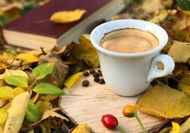 Branca, xícara café quente, entre, caído, outono sai