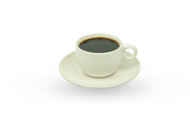 Branca xícara de café, isolado no branco Foto Premium