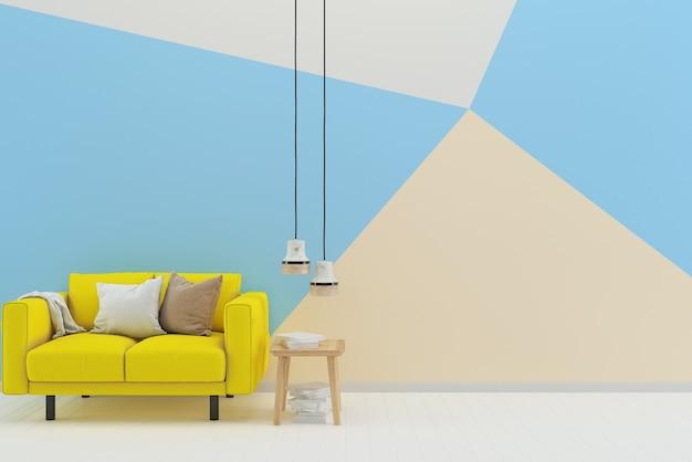 Branco azul parede pastel piso de madeira branca textura amarelo sofá lâmpada mesa livro