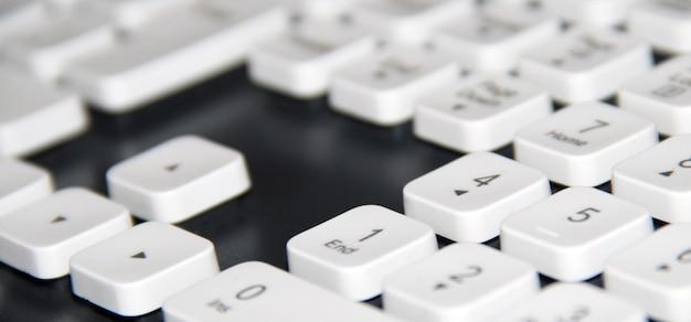 Branco, computador, teclado, close-up