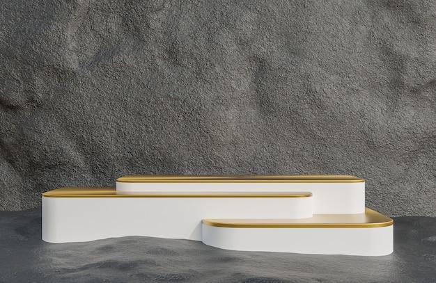 Branco e dourado pódio para apresentação do produto no estilo luxuoso do fundo da parede de pedra., modelo 3d e ilustração.