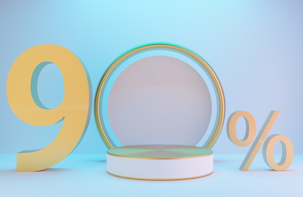 Branco e ouro pódio e texto 90% para apresentação do produto e arco dourado na parede branca com iluminação de fundo de estilo luxuoso., modelo 3d e ilustração.
