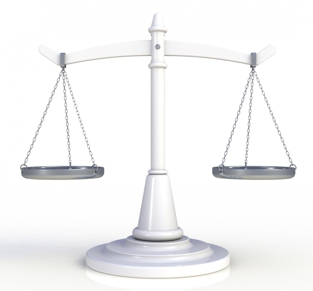 Branco escalas justiça isolado no fundo branco