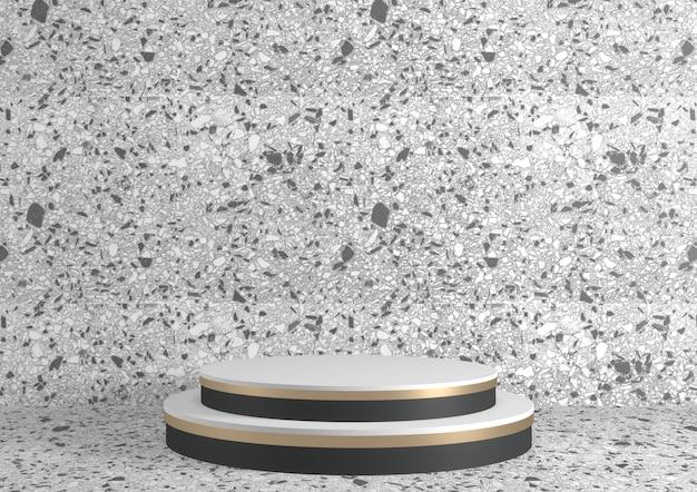 Branco pódio romano para produtos cosméticos em branco de granito de fundo. renderização 3d